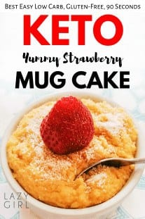 This low carb keto strawberry mug cake is super easy to make and yummy but it also looks good! The texture is so fluffy, yet dense enough to feel like an authentic cake. The strawberries also help to keep the cake moist. #ketomugcake #easyrecipe #microwavemugcake #strawberrymugcake